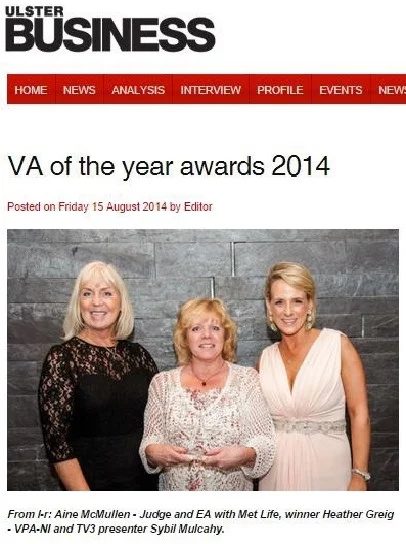 County Down native Heather Greig has been announced as winner of BeMyVa coms  VA of the Year at the pa-assist.com PA Awards for All-Ireland 2014.