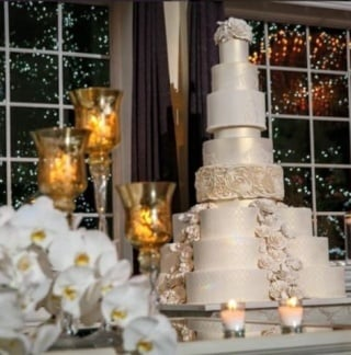 Wedding Cake With White Flowers