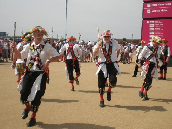 Merrydowners performing outside the Olympic Stadium