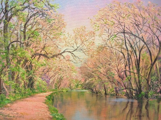 54. SOLD C&O Canal Path in Spring, 9x12 oil on canvas