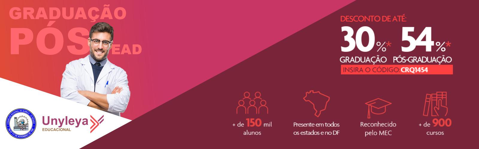 O CONSELHO REGIONAL DE QUÍMICA FECHA PARCERIA COM A FACULDADE UNYLEYA, AGORA TODOS OS PROFISSIONAIS REGISTRADOS PODEM FAZER GRADUAÇÕES E PÓS-GRADUÇÃO COM DESCONTOS DE ATÉ 54%