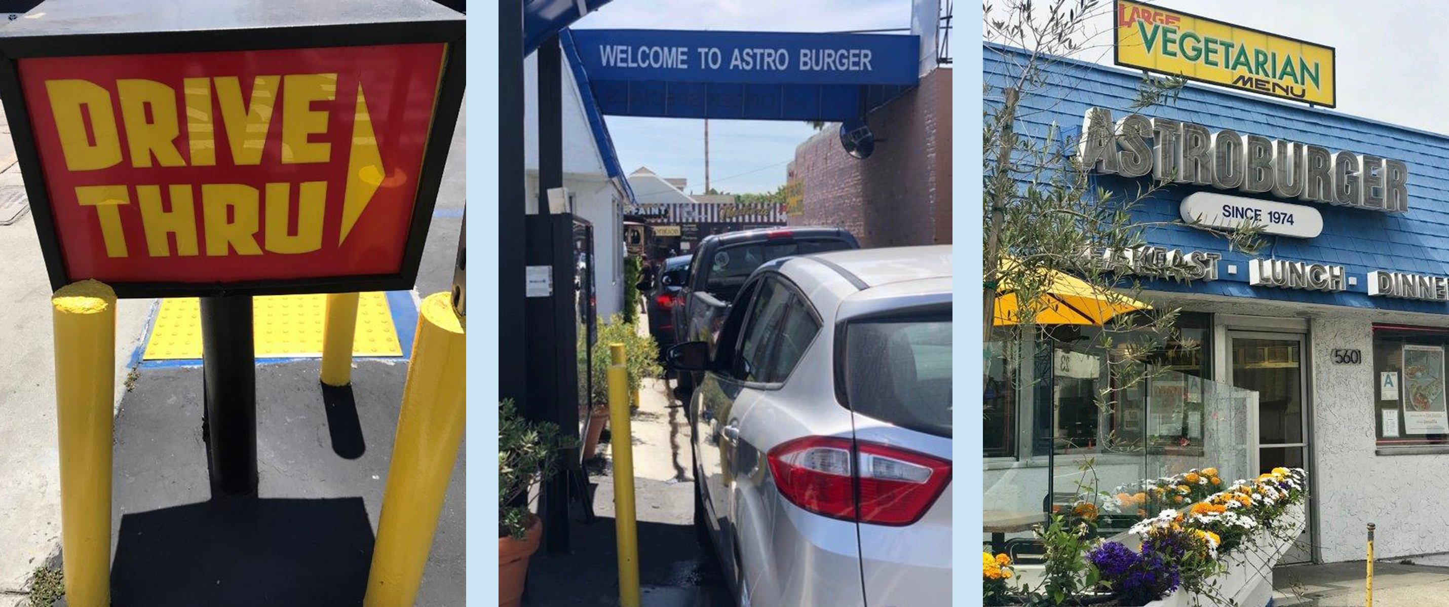 Collage photos - drive-thru and outside AstroBurger