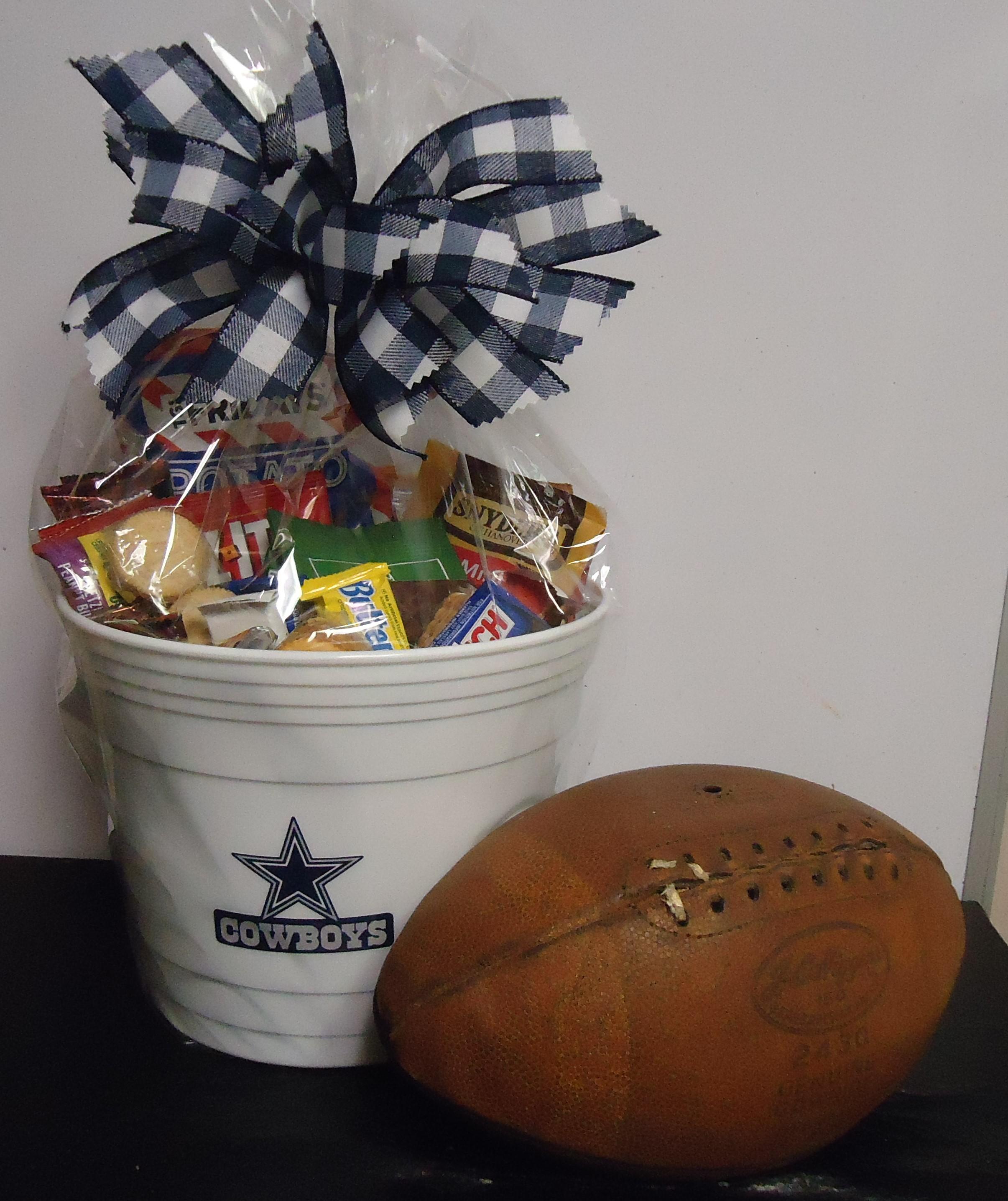"""(7) """"Cowboys"""" Goodie Tub W/ """"Vintage"""" Sears & Roebuck Football $80.00"""