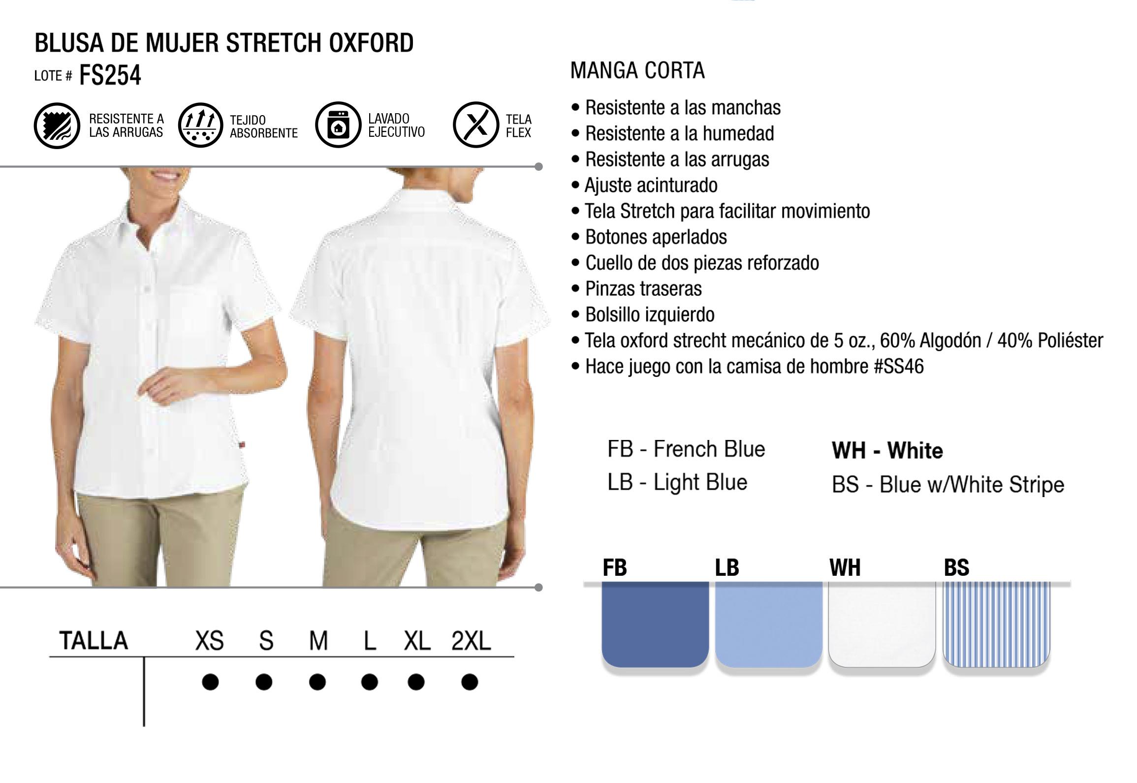 Blusa Stretch Oxford. Manga Corta. FS254