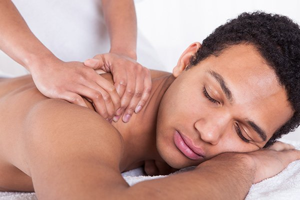 Man on spa massage