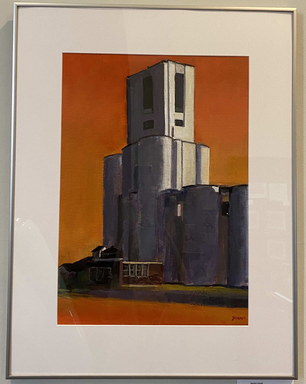 "Grain Elevator Acrylic on Paper 27"" x 21"" $400."