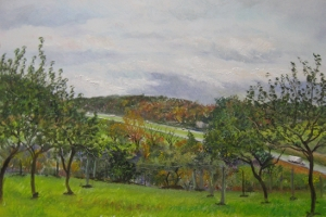1. I-64 Orchard at Tinkling Spring, 8x12 oil on panel