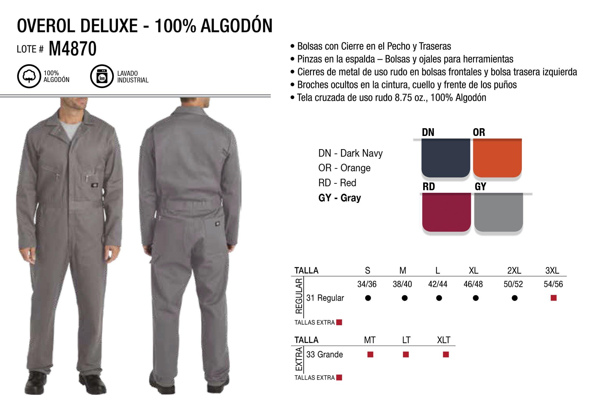 Overol Deluxe 100% Algodón. Manga Larga. M4870.