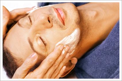 Man getting cream massage||||