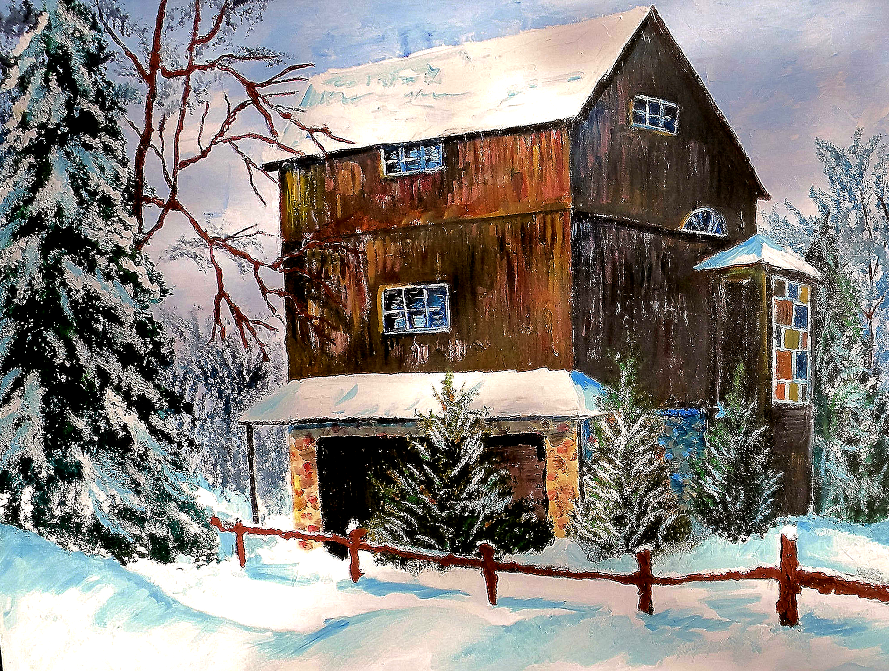 "THE BARN  30X40""       $1000    HIGHLIGHTED WITH GLOW IN DARK LUMINESCENT PAINT"