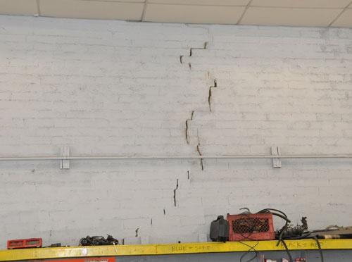 Cracked Brick Masonry Wall