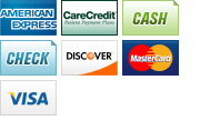 We accept American Express, Care Credits, Cash, Checks, Discover, MasterCard and Visa.||||