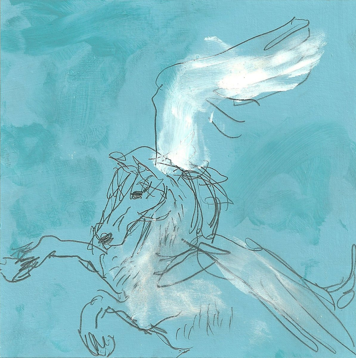 A pencil and painted drawing of a winged horse on a turquoise background.