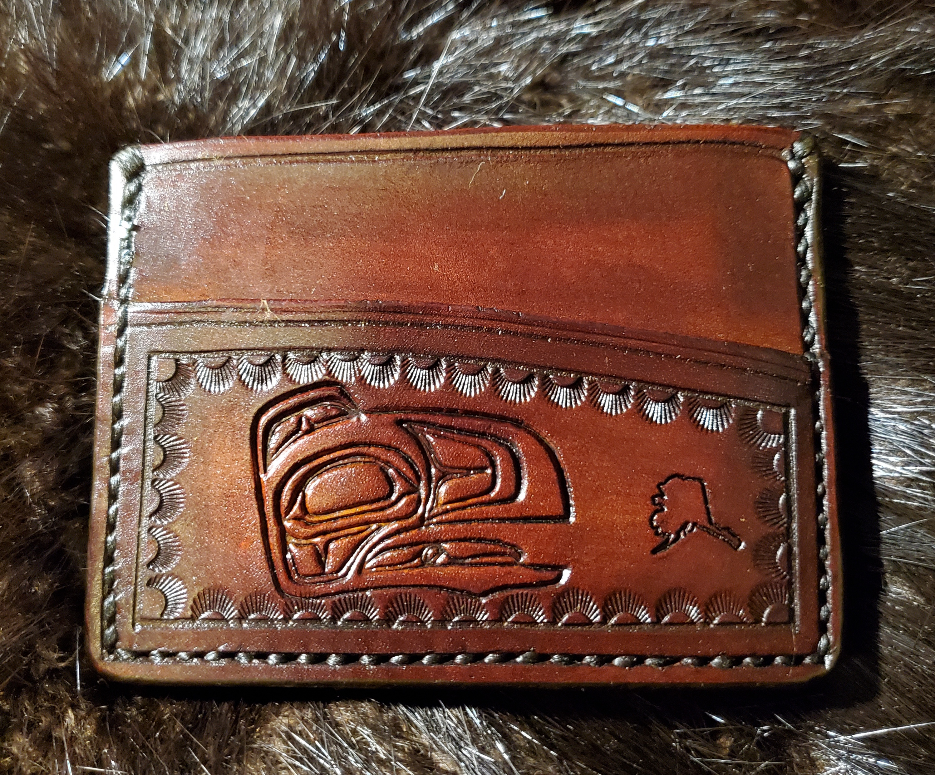 (Front)  Native Raven, 3 pocket Minimalist Wallet,  hand tooled, hand stitched,  $65.00