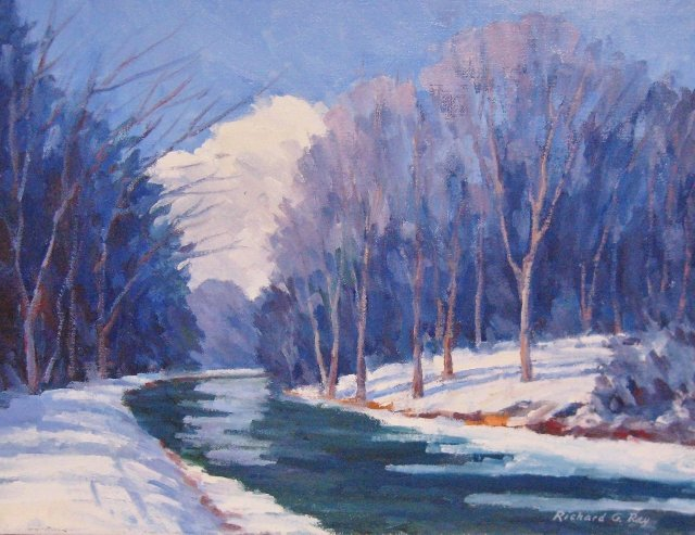 C&O Canal, Winter, 12 x 16, Oil