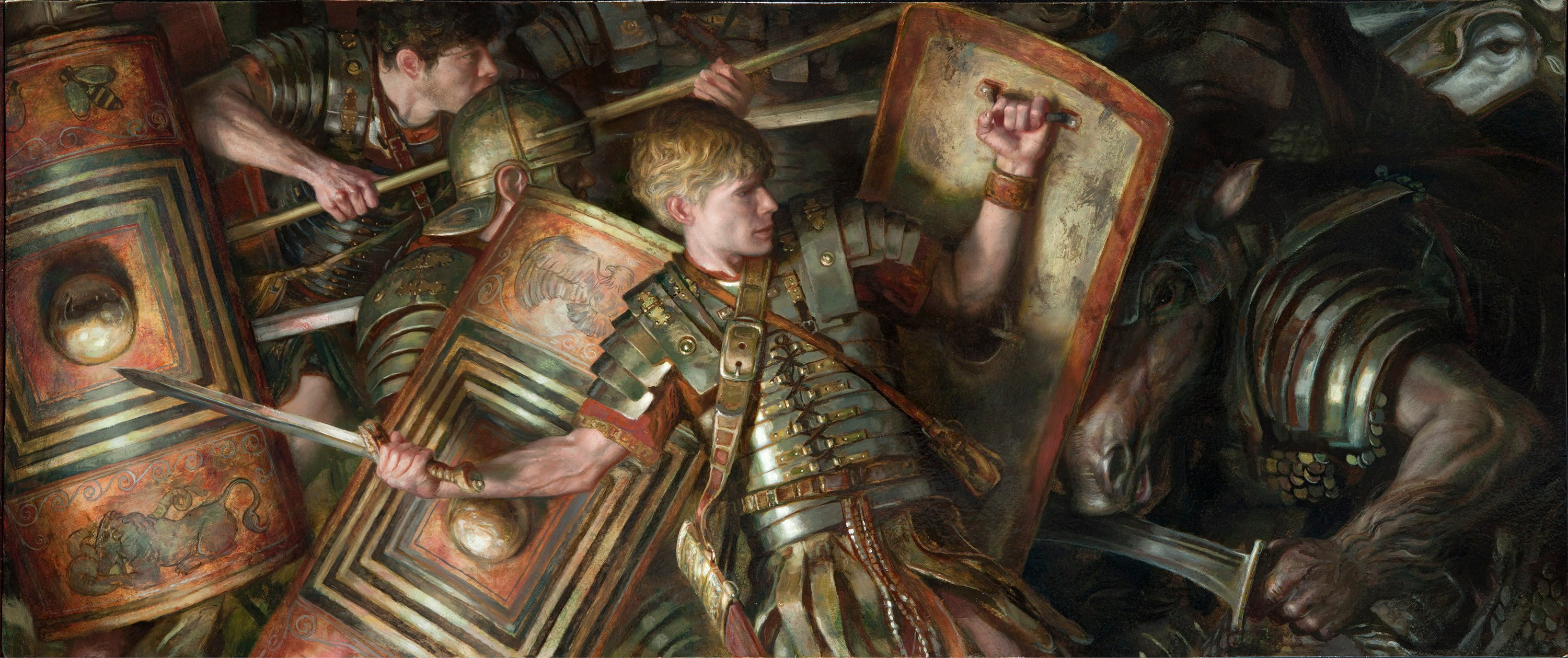 "Roman Legionnaires 24"" x 48""  Oil on Panel  2014 cover commission for Tor books for David Drake novel private collection"