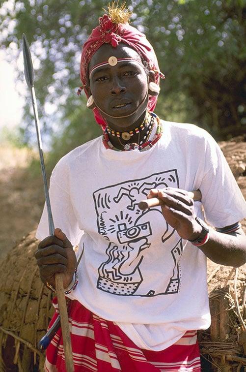 Samburu Tribesman wearing a Keith Haring t-shirt - Kenya