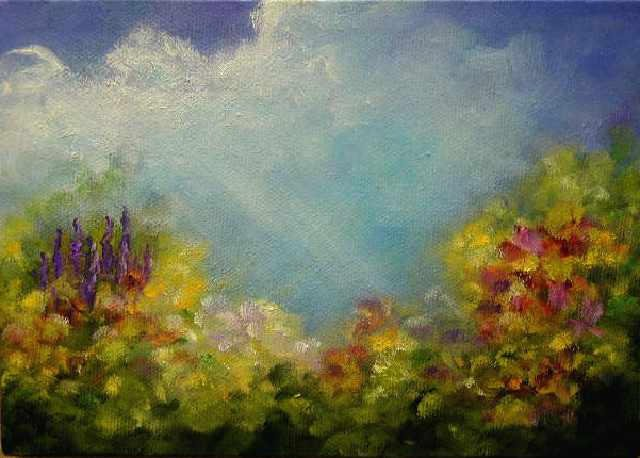 """Angel In The Clouds    5""""x 7"""" Oil on Canvas  SOLD"""