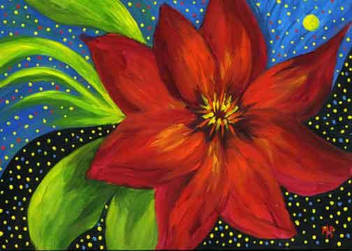 "Night Bloom - 4""x 6 "" Acrylic on Gessobord  Sold"