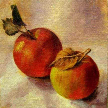 """Two Apples - 6""""x 6"""" Oil on Canvas Panel SOLD"""