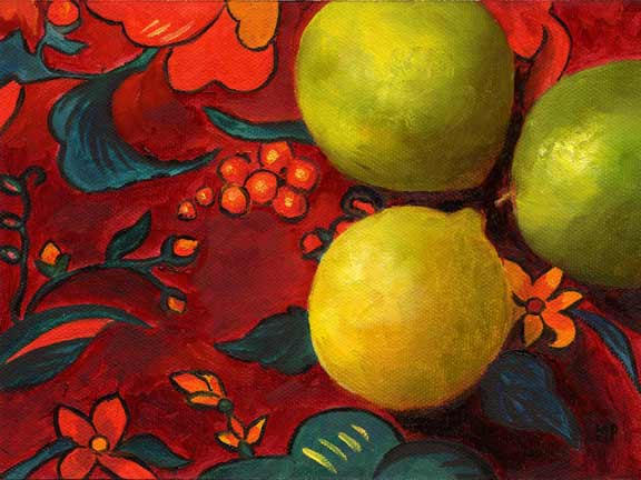"""Lime Pow Wow - 6""""x8""""   Oil on Canvas Panel SOLD"""