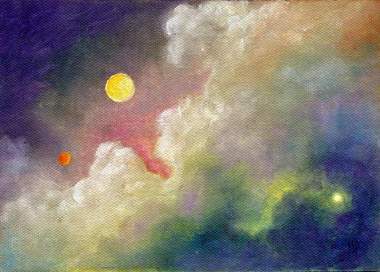 "Moon & Mars ~ 5"" x 7""  Oil on Canvas Panel  SOLD"