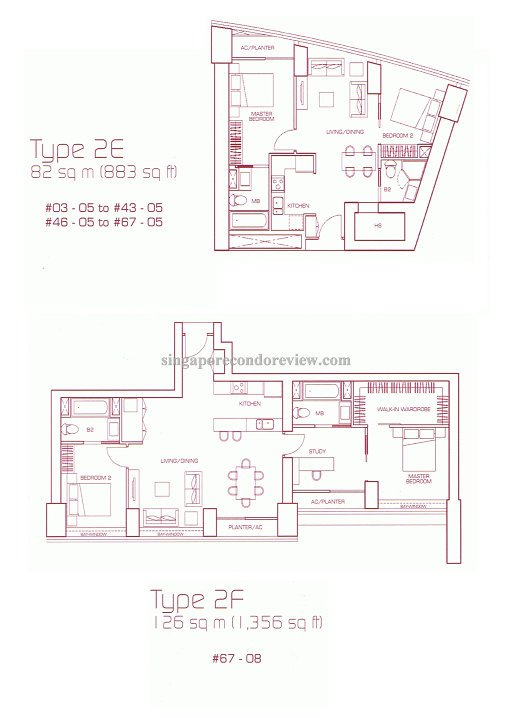 floor plan for stack 5, 2bedrm 883 sqft