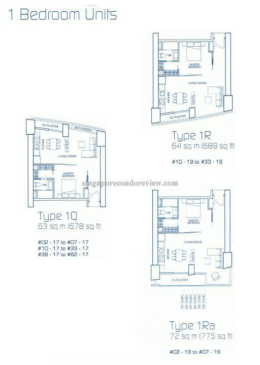 floor plan for stack 17, 1bedroom  678sqft