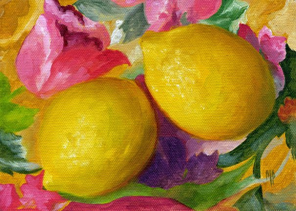 Two Lemons ~ 5x7  Oil on canvas panel   SOLD