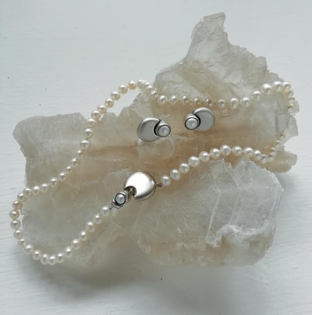 Perlas con luna Plata y perlas cultivadas