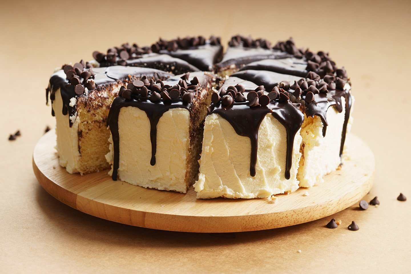 Round Cake With Chocolate Topping