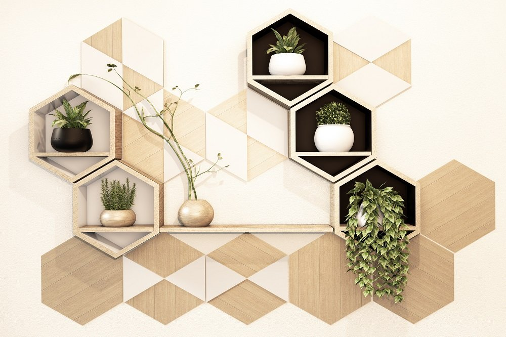 Geometric Shelves and Design on Wall