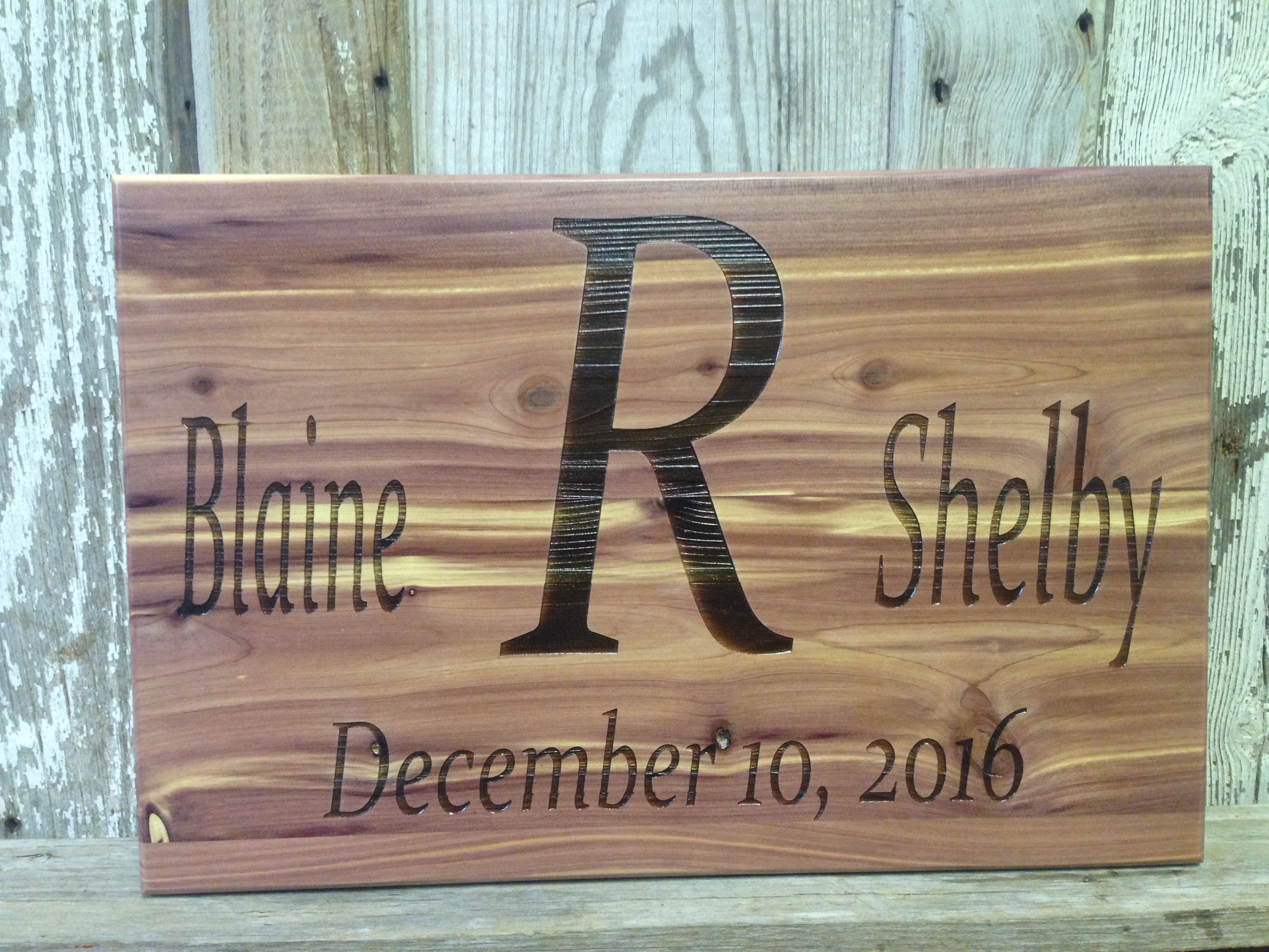 Engraved out of cedar wood wedding wall decor