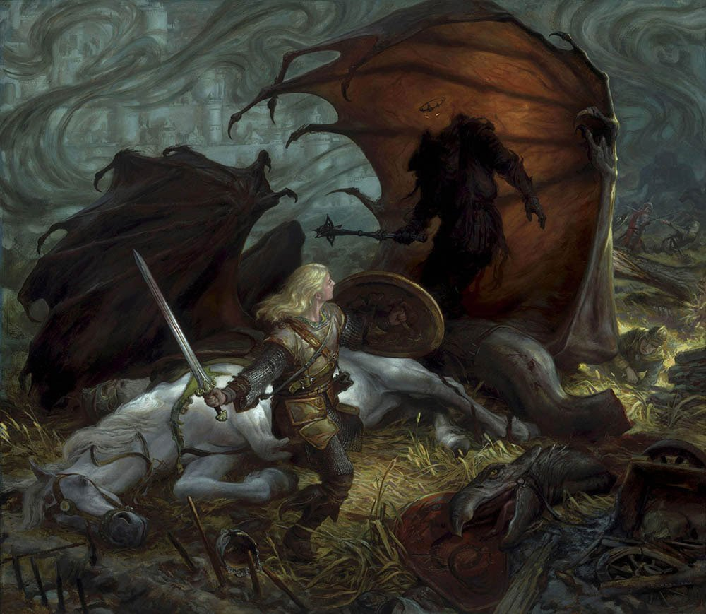 "Eowyn and The Lord of the Nazgul 34"" X 39""  Oil on Panel  2010 appearing in all editions of my books on Middle-earth art collection of Greg Obaugh"