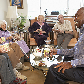 Group of Senior Having Tea