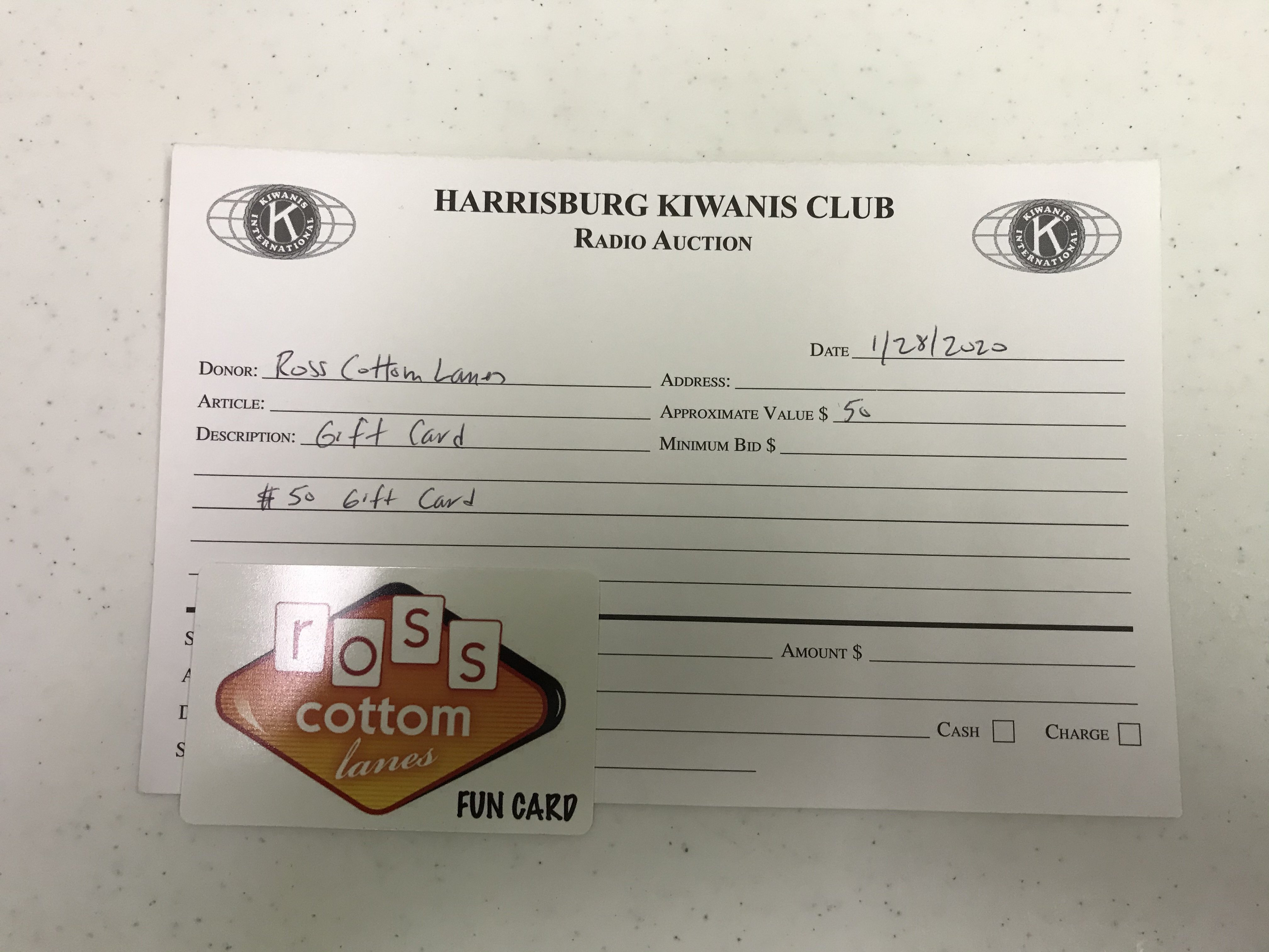 Item 324 - Ross Cottom Lanes $50 Gift Card