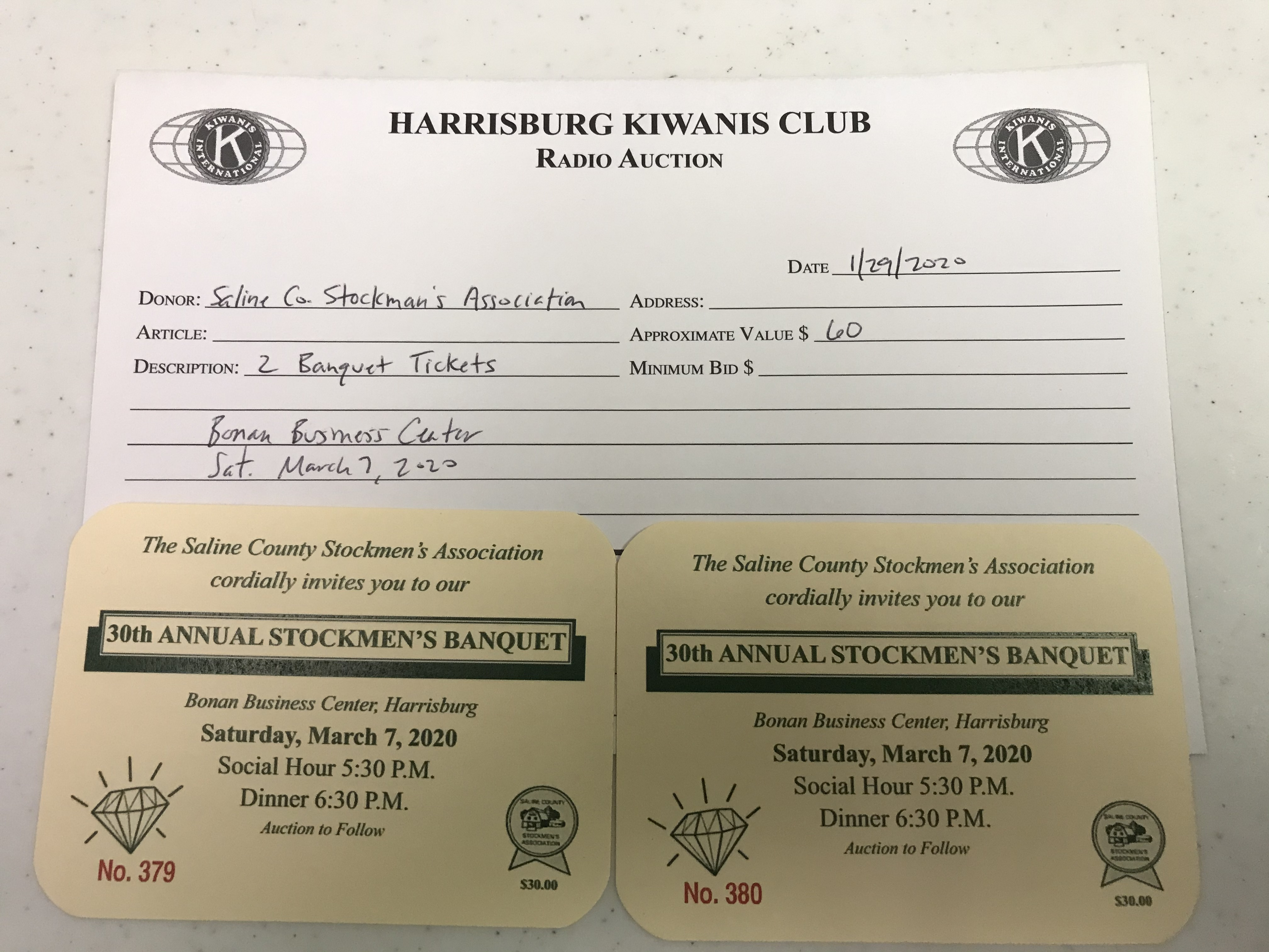 Item 432 - Saline Co. Stockmen's Association 2 Banquet Tickets - March 7, 2020