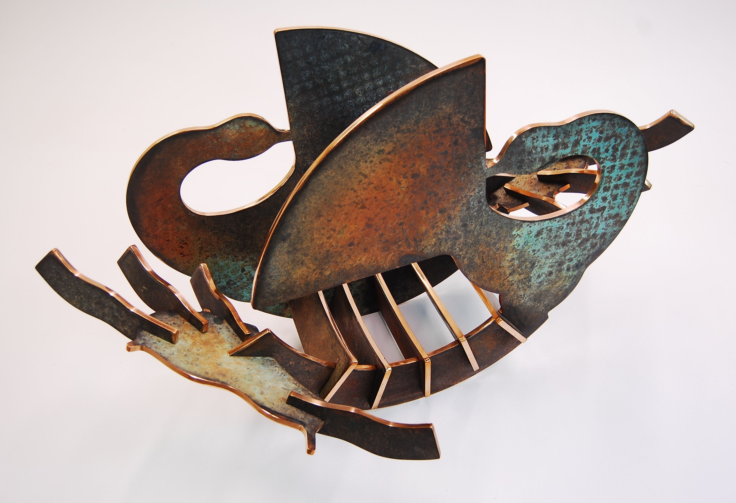 """In Retrospect - 2011, Fabricated Bronze with Patina, 23"""" x 43"""" x 26"""""""