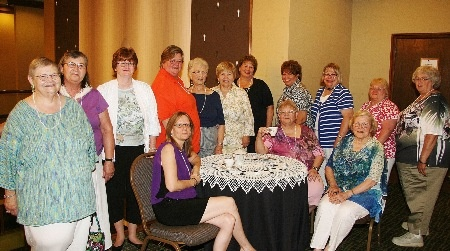 "Jun 2013 – Phi State/OH, members stop for a ""Cup of Tea""  at the National President's Reception in Omaha, Nebraska.   (l-rt) Bonita Bucklew, Liz Herbst, Linda Smith, Kim Wood,  Sallie Kilgore, Jane Bowser, Diane Ross, Jeanne Blain, Sue Hanna,  Annie Davis, Sue Beck, Phoebe Tenney, Rosalie Smith, Cathy Derhammer"