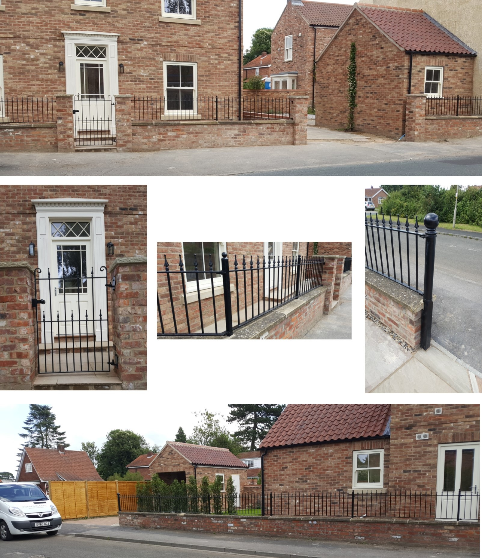 Wall railings & gate installed to new build property. Fabricated to compliment the style of the building.