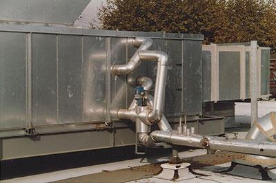 Piping on HVAC Unit