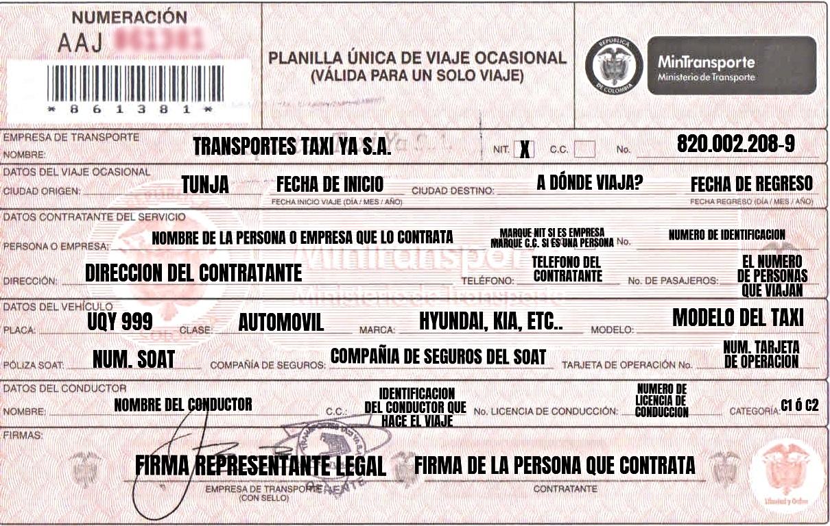 FORMA DE DILIGENCIAR UNA PLANILLA DE VIAJE