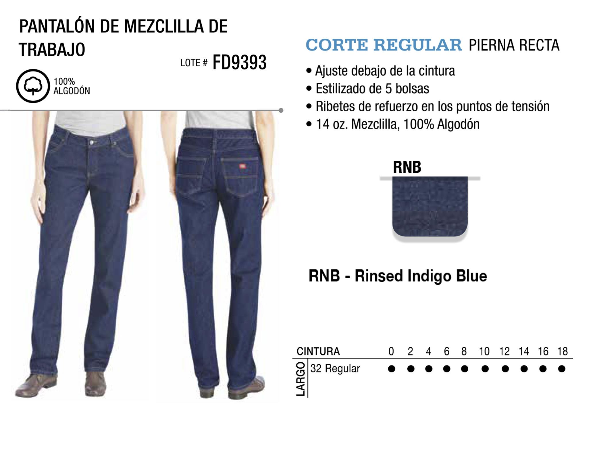 Pantalón de Mezclilla de Trabajo. Corte Regular. FD9393.