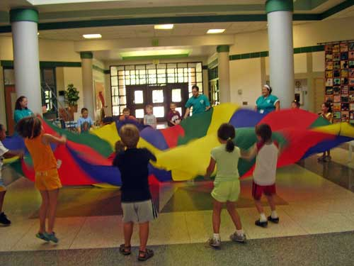 Kids Lifting Up Parachute