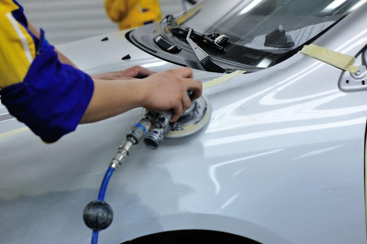 Car body work in garage