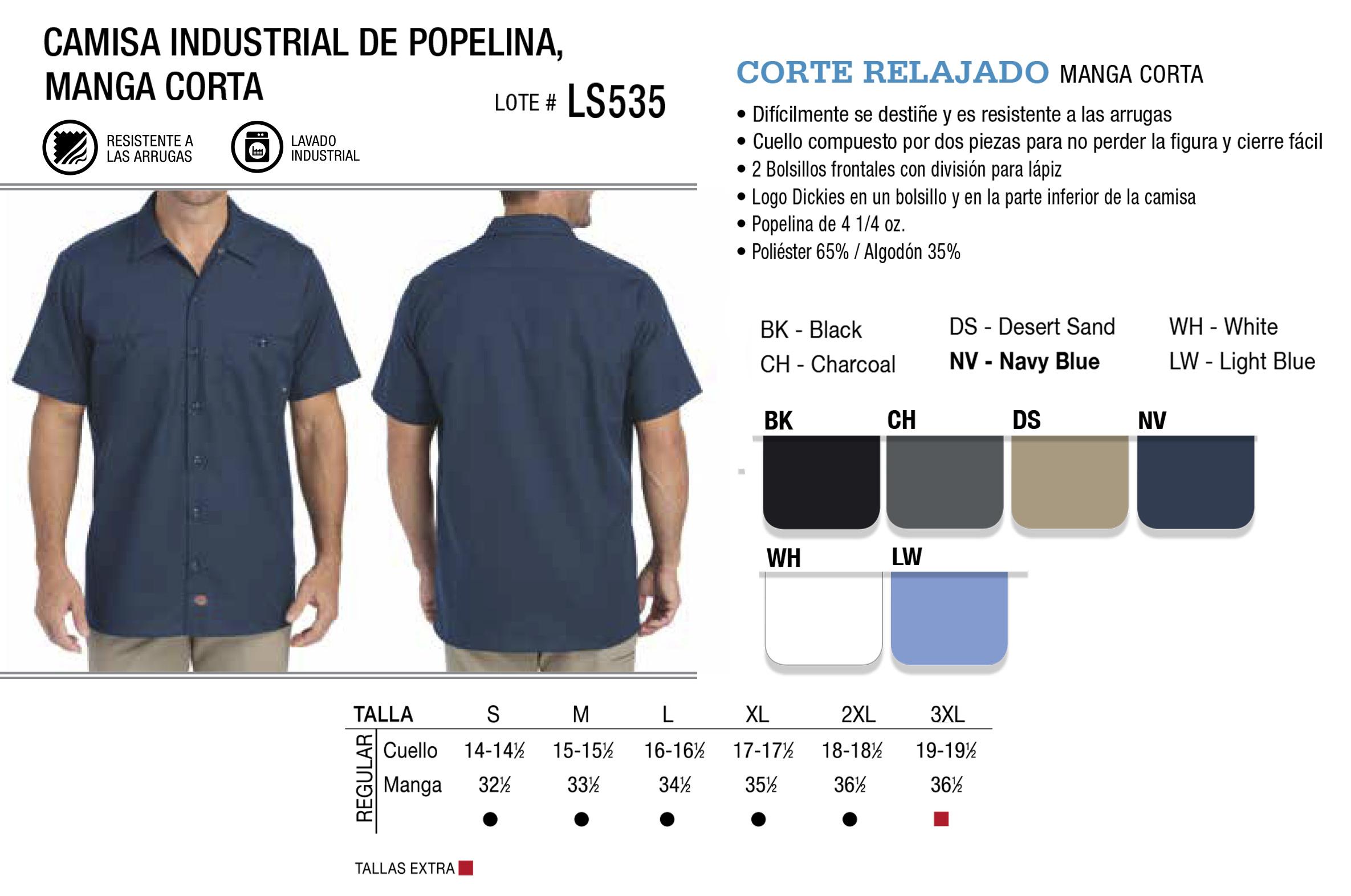 Camisa industrial de popelina. Manga Corta. LS535