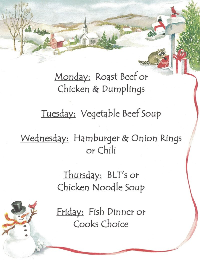 lunch Specials Till Christmas