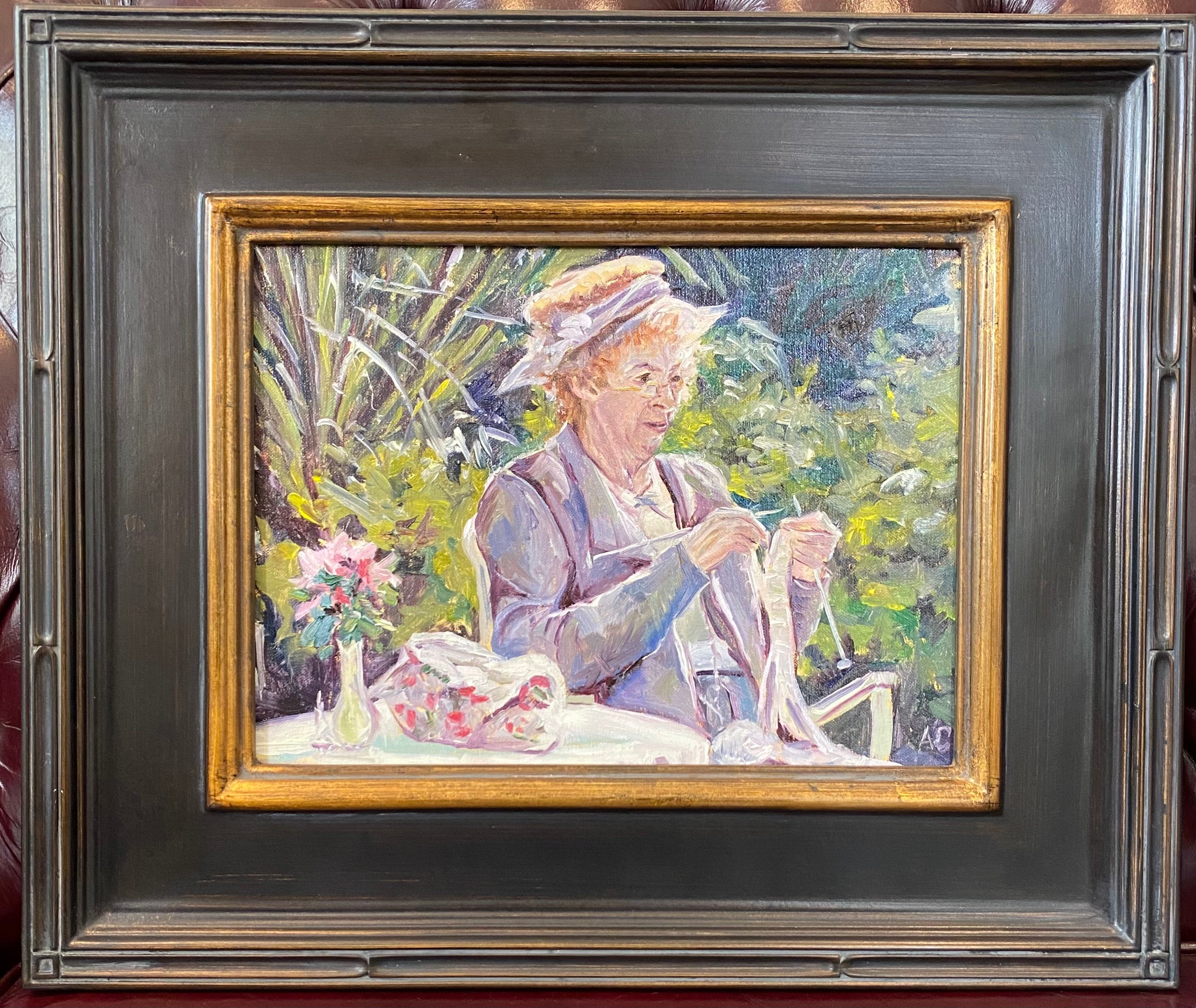"Miss Marple in her Garden Oil 9"" X 12"" $275."