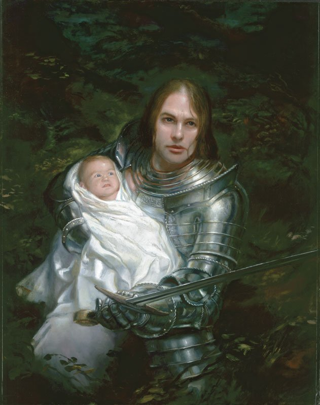 "A Father's Love 20"" x 16""  Oil on Panel 2004 Uther and Arthur Pendragon private collection"