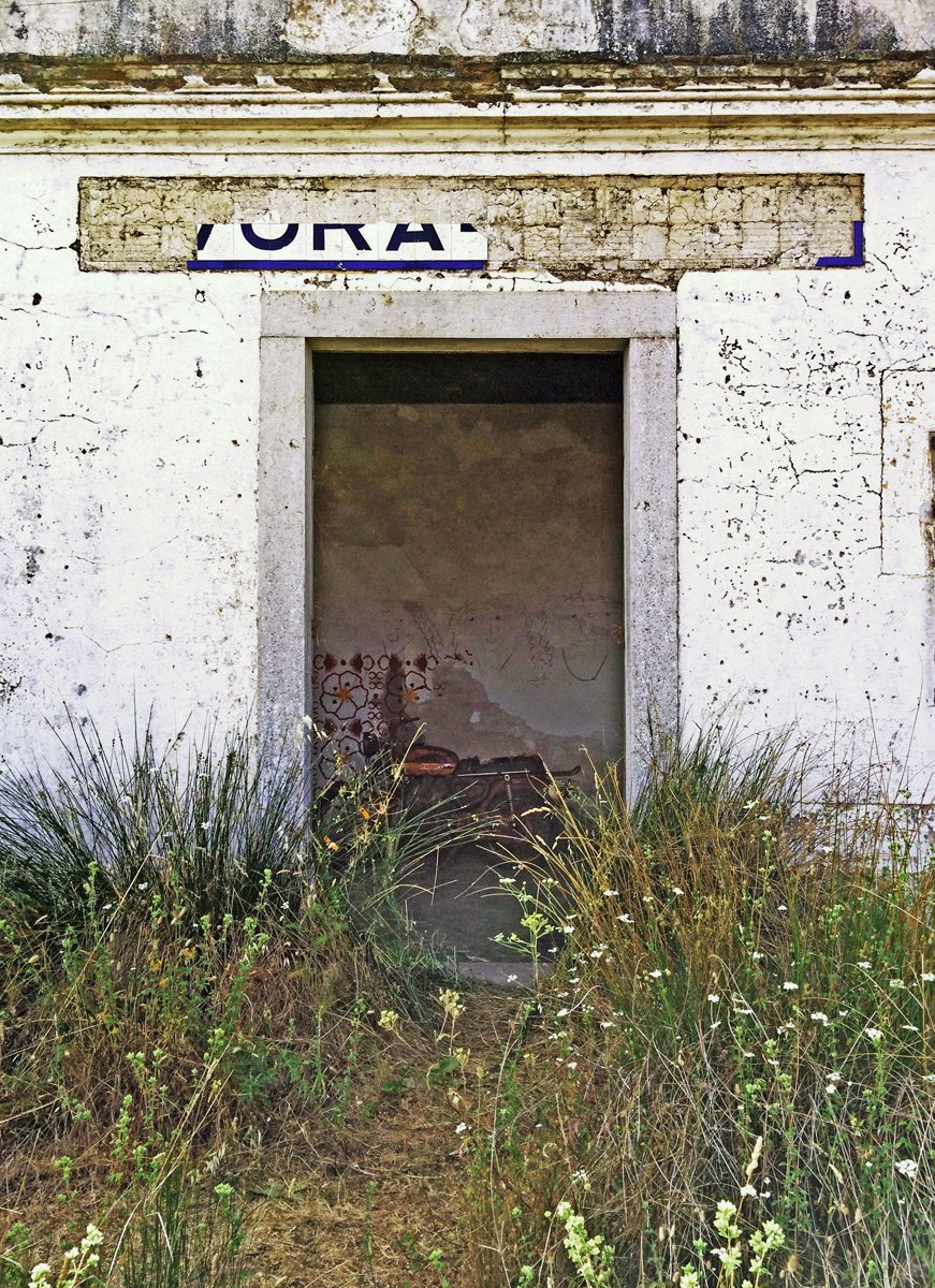 A doorway in an old whitewashed wall, a motorcycle inside, tall grasses outside.